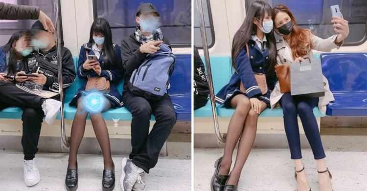 網友捷運偶遇天菜神腿妹...「戴口罩」+黑絲短裙!網:求神人